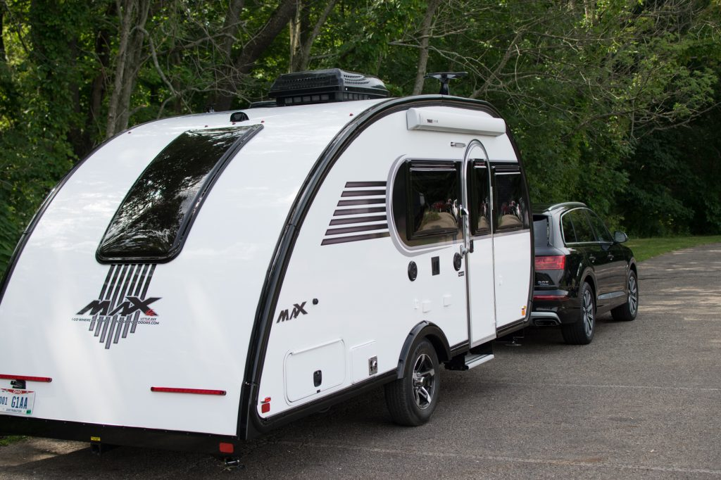 Image of Little Guy Max travel trailer from a rear angle view